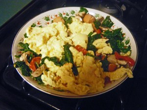 4 eggs and mixed vegetables