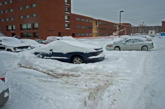 Due to the weather conditions, here is an appropriate photo of my car from college...same car different snow...
