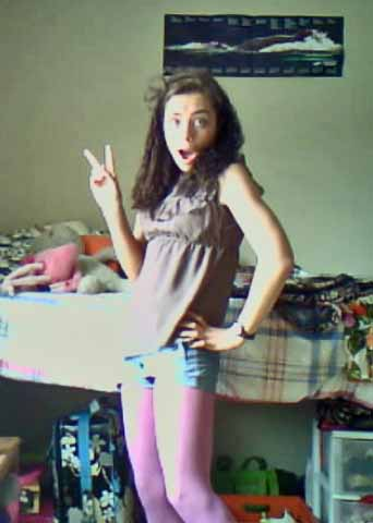 Here is a picture of me in college in purple leggings.