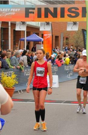 One of my first half marathons (Flower City, Rochester).  I was in the top 10 with a time of 1:38 and I was proud...on another note that top gave me the worst chaffing I've ever had in my life.