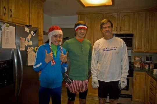 My brother, dad and I going for my first 10 mile run 4years ago this Christmas.