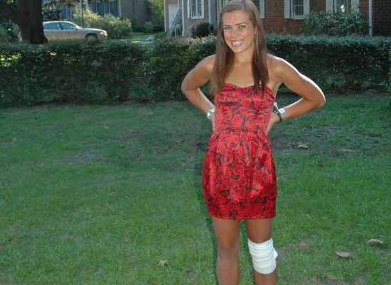 On my 21st birthday rocking a knee wrap when really I had a stress fracture (but no one knew...).
