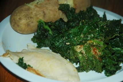 Sablefish, potato and a lot of kale