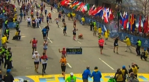 NBC still image taken from video shows an explosion at the Boston Marathon