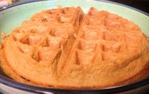 A homemade waffle.