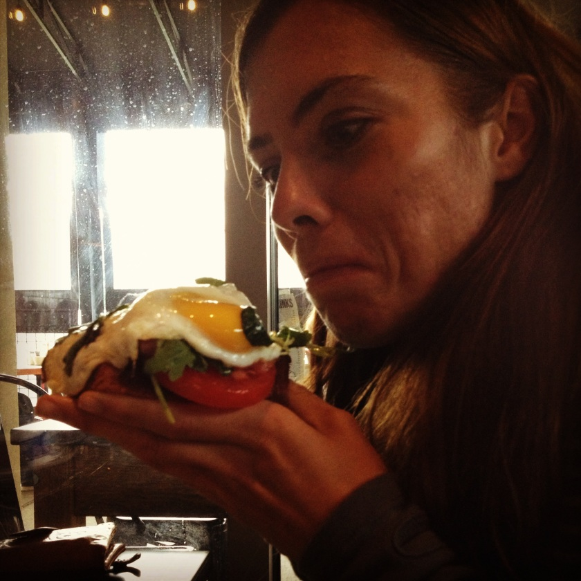 The best egg and smoked salmon sandwhich ever.  It was just so big I didn't even know how to eat it.  I just stuffed it in my mouth like a proper and polite date would.