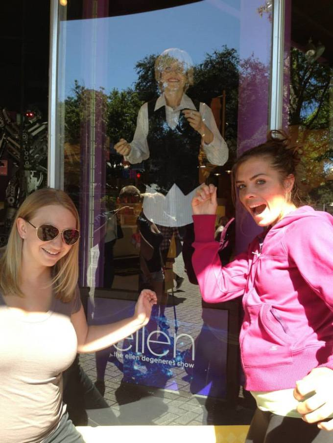 In San Antonio dancing with wax Ellen.  The Ellen Show is one of Amanda and I's favorite shows.  Right now in Del Rio, Imy day revolves around the 3pm hour to watch it.  Ha.