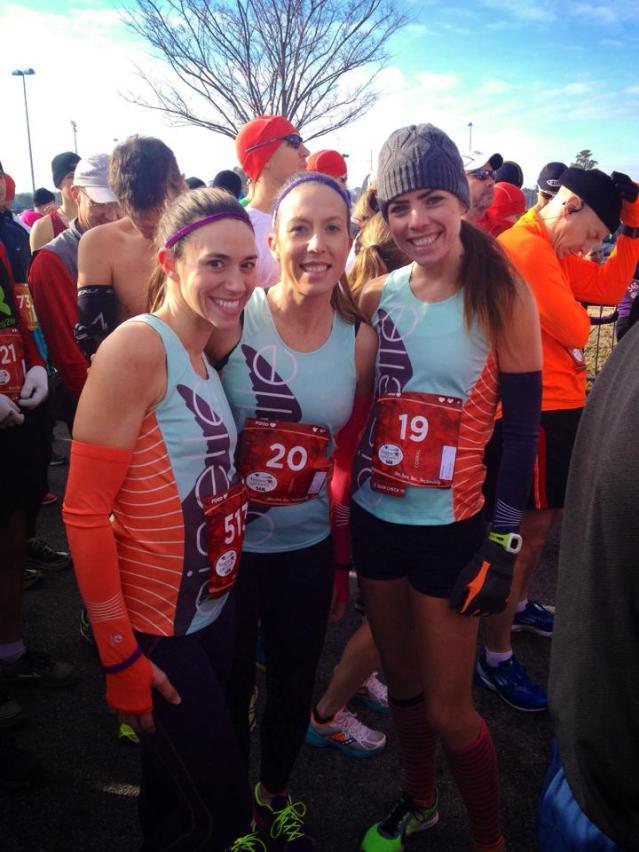 Oiselle teammates: Stephanie, Mollie and I at the race start.