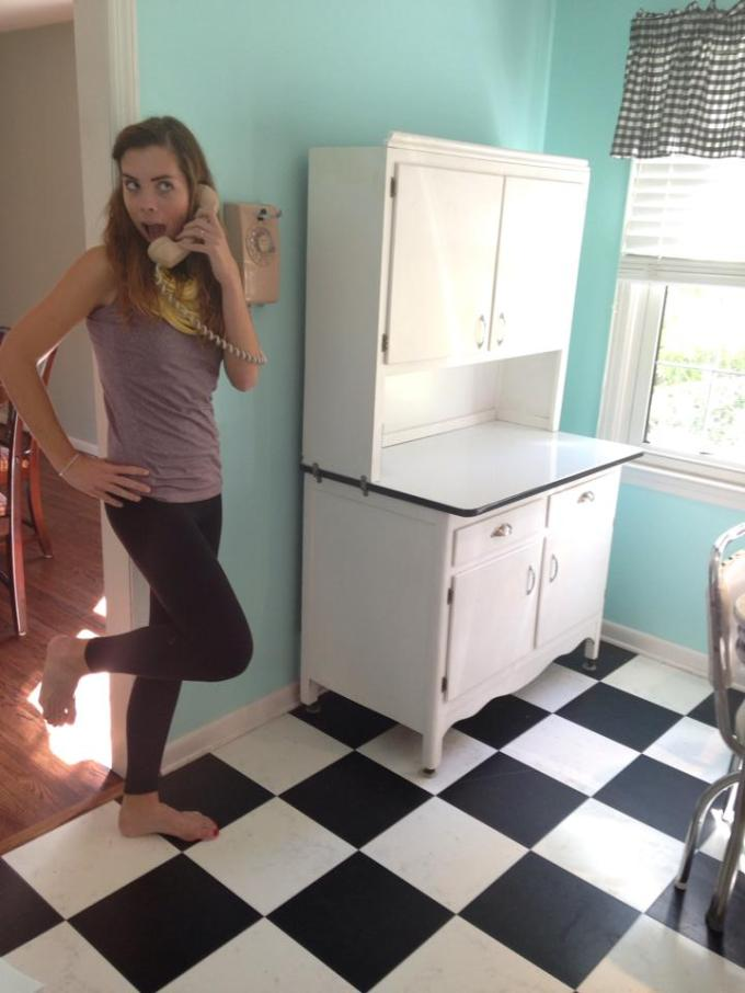 My favorite part of the house is the retro diner kitchen.