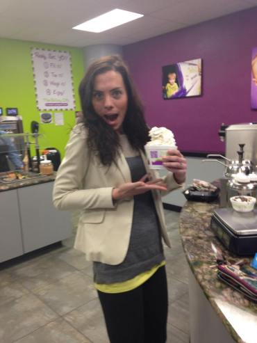 Blazer in action getting froyo