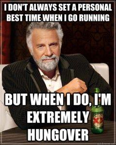 running hungover meme