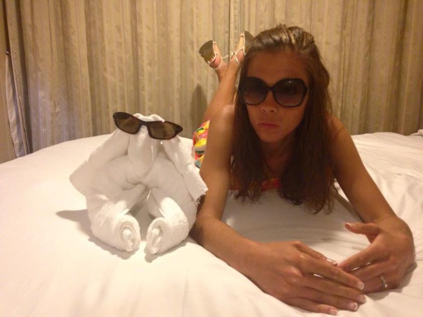 Posing with the towel animal afterwords.