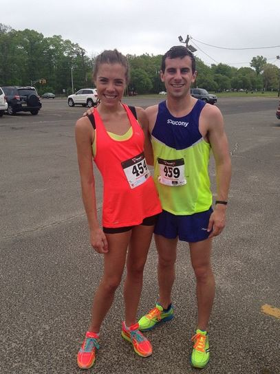 My friend Austin and I in our matching Saucony A6s.  Bright colored twinning!