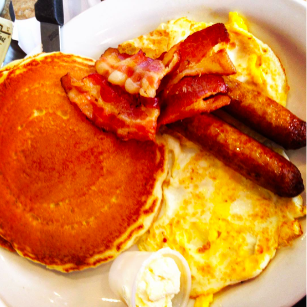 pancakes eggs toast bacon
