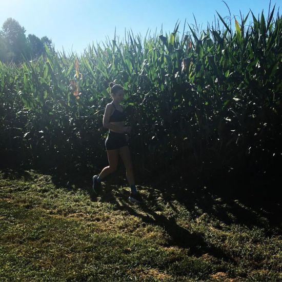 me running cornfield