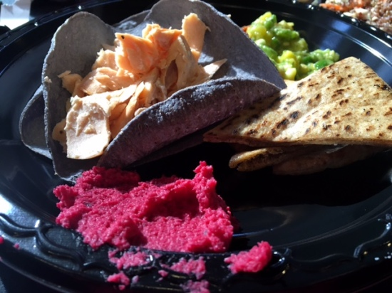 The beet hummus and pita chips are delicious...