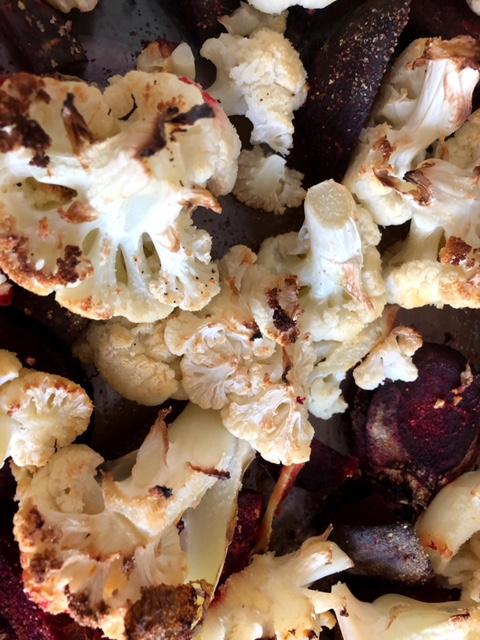 roasted cauliflower and beets